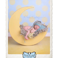 Newborn Boy Photography Backdrop - Kids Photoshoot Prop - Blue and Yellow Polka Dot Pattern - Item 970