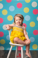Polka Dot Photography Backdrop for Kids Pictures - Blue Photo Background - Multi Color Dots  - Item 1014