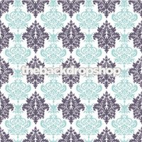 Wedding or Baby Boy Photography Backdrop - Navy Blue and Light Blue Damask Wallpaper Photo Background - Item 1028
