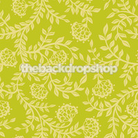 Green Floral Wallpaper Backdrop - Item 1067