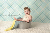 Newborn Boy Photography Prop - Studio Photography Backdrop - Plaid - Item 1096