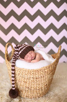 Pink and Brown Chevron Pattern Photo Backdrop - Newborn Girl Photography Background - Item 1189