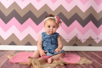 Pink and Brown Chevron Zig Zag Photography Backdrop  - Item 1200