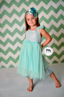 Turquoise and White Chevron Photography Backdrop - Item 1213