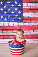 American Flag Photography Backdrop - 4th of July Photo Background - Brick Wall - Item 1238