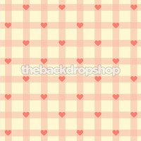 Pink Gingham Heart Photography Backdrop  - Item 1251