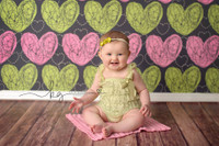 Hand Drawn Pink and Green Heart Wallpaper Photo Backdrop - Item 1297