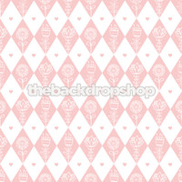 Pink Harlequin Photography Backdrop for Girls - Item 1341