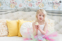 Shabby Chic Bed Backdrop - White Headboard Photography Background - Childrens Bed Backdrop - Item 1384