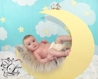 Stars and Clouds Backdrop for Photos - Commercial Prop Background - Blue Sky Photography Backdrop - Item 1414