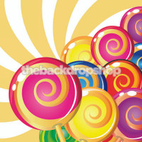 Candy Land Theme Backdrop - Candy Buffet Table Backdrop - Lollipops - Candy - Item 1591