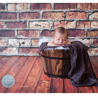 Brown Stained Wood Floor Backdrop - Wood Photography Floor Drop - Item 1624