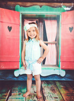 Cottage Window Photography Backdrop - Little Girls Photo Back Drop Prop - Item 1644