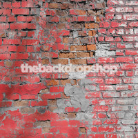 Broken Brick Wall Photo Backdrop - Red Brick Photography Backdrop - Item 1752