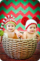 Red and Green Christmas Chevron Photography Backdrop - Item 1797