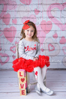 Painted Hearts on White Brick Backdrop - item 1808