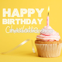 Custom Personalized Birthday Yellow Cupcake Backdrop - Item 1814