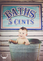 Vintage Wood Bath Sign Photography Backdrop - 1857