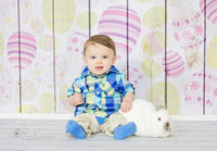 Easter Eggs on White Wood Floor Photography Backdrop - Exclusive Design- Item 1866