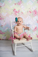 Quilted Pastel Rainbow Floral Chevron Photography Backdrop - Pastel Flowers Chevron - Item 2004