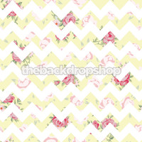 Pastel Yellow Floral Chevron Photography Backdrop - Item 2009