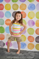 Multi Color Watercolor Dots Photography Backdrop - Colorful Rainbow Painted Dots Photo Backdrop - Exclusive Design! - Item 2011