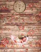 Wood Floor Drop for Photos - Girls Flower Photography Backdrop - Pink Floral Wood Plank Floor Drop - Exclusive Design - Item 2032