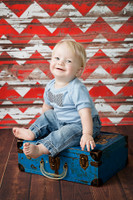 Chevron Photography Backdrop - Red Chevron White Wood Floor Drop - Distressed Painted Wood Plank - Exclusive Design! - Item 2038