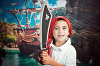 PIRATE SHIP PHOTOGRAPHY BACKDROP FOR KIDS PHOTOS - NAUTICAL PHOTO BACKDROP - ITEM 2051