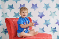 Blue Painted Stars Photography Backdrop - 4th of July Backdrop - Fourth of July Watercolor Stars - Exclusive Design! - Item 2056