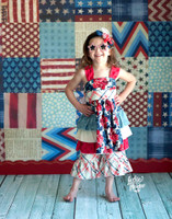 American Flag Paper Patchwork Photography Backdrop - Item 2077