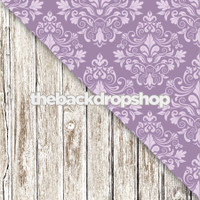 Purple Damask Wallpaper / Faded White Wood Floor - Items 1060 & 1371