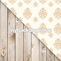Beige Damask / Whitewashed White Wood Floor - Items 1086 & 157