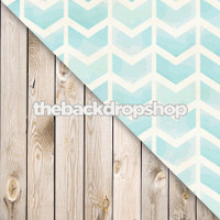 Light Blue Chevron / Whitewashed White Wood Floor - Items 1514 & 157