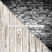 Gray Brick Wall / Faded White Wood Floor - Items 376 & 1371