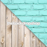 Turquoise Blue Brick Wall / White Plank Wood Floor - Items 421 & 157