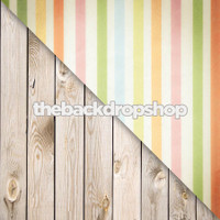 Pastel Stripe / White Plank Wood Floor - Items 622 & 157