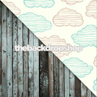 Cloud Sky Wallpaper / Grunge Blue Wood Floor - Items 926 & 368