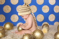Blue and Gold Glitter Dot Backdrop - Baby Boy Backdrop - Holiday Christmas Polka Dot Back Drop - Exclusive Design - Item 2128