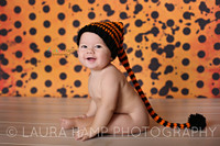 Halloween Photography Backdrop - Orange and Black Backdrop - Polka Dots Photo Background - Item 2141