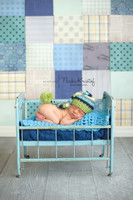 Newborn Boy Photography Backdrop - Baby Boy Photo Backdrop Prop - Blue Patchwork - Exclusive Design - Item 1939