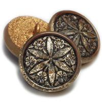 18mm Gold Star Flower Black Wash Button