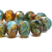 Czech Rondelle - Pac Blue Amber White with Picasso