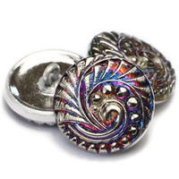 18mm Swirl - Volcano with Silver Button