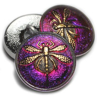 18mm Volcano with Gold Dragonfly Button
