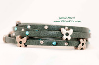 Five Wrap Blinged Italian Leather Forest + Butterflies