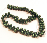 4X6mm Drops - Metallic Suede Green