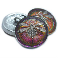 18mm Silver Dragonfly Volcano Button