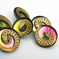 22mm Concave Pink Swirl Button