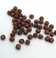 5mm Melon Beads - Bronze Luster Iris Op Red